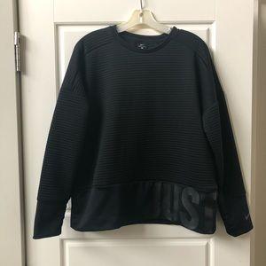 NIKE Black Ribbed Dri-Fit Pullover Sweatshirt Top